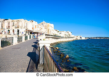 Ortigia view during a summer day - SYRACUSE, ITALY - MAY 18,...