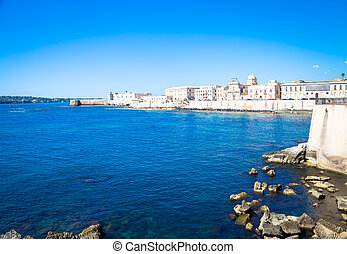 Ortigia view in Syracuse - SYRACUSE, ITALY - MAY 18, 2018:...