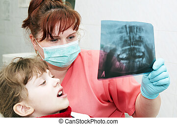 ortodontico, dentista, esame, dottore