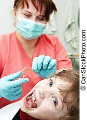 ortodontico, dentista, medico, esame, dottore