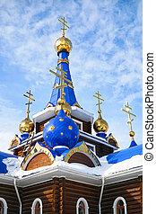 ortodosso, croci, su, cupole, di, chiesa