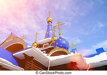 ortodosso, croci, su, cupole, di, il, chiesa