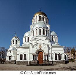 ortodosso, famoso, ukraine., chiesa, nevsky, kamianets-podilskyi, alessandro