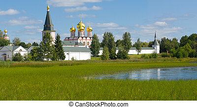 ortodosso, monastero, iversky, valdai, russia., chiesa,...