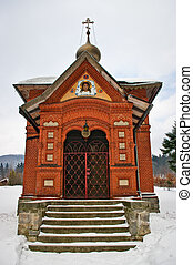 ortodox, brick-red, iglesia