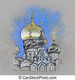 ortodox, gömbölyít, jellegzetes, templom