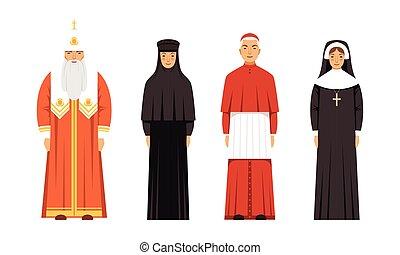 ortodox, katolikus, emberek, vektor, apácák, ábra, sarkalatos, öltözék, gyűjtés, betűk, ősatya, hagyományos, vallás