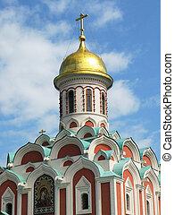ortodox kyrka, på, den, röda fyrkantiga, in, moskva