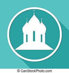 ortodoxo, catedral, iglesia, blanco, círculo, con, un, largo, sombra
