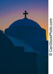 ortodoxo griego, capilla, en, amanecer