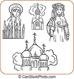 ortodoxo, religión, -, vector, illustration.