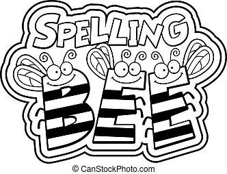 ortografía, caricatura, abeja