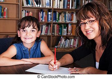 ortografía, estudiante, feliz