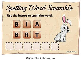 ortografía, partido de palabra, conejo
