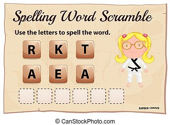ortografia, parola, arrampicarsi, gioco, con, parola, karate