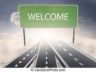 ortografia, signpost, fuori, benvenuto
