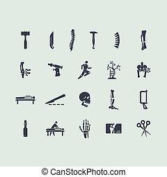 ortopedia, jogo, ícones
