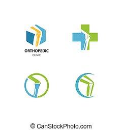 ortopedisk, klinik, logo