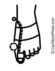 ortopedisk, stor, linjär, hallux, valgus, ikon, tå, spänna, ...