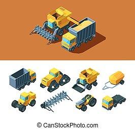 oruga, agrícola, moderno, industria, grano, remolque, rural...