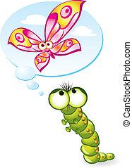 oruga, wants, a, ponerse, un, mariposa