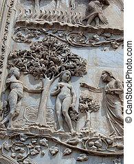 orvieto, -, duomo, facade., a, először, pillar:, színek,...