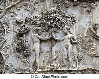 orvieto, facade., genesis.eve, duomo, verboden, -, scènes, aanbiedingen, fruit, adam., pillar:, eerst