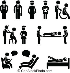 orvos, ápoló, kórház, türelmes, beteg