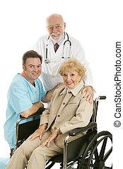 orvos, ápoló, &, türelmes