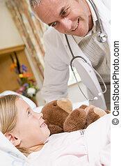 orvos, átvizsgálás, feláll, képben látható, övé, young türelmes