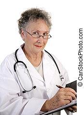 orvos, érett, női, diagram