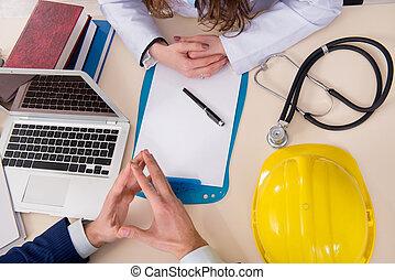 orvos, és, menedzser, befejezés, ipari, biztosítás kiterjedése