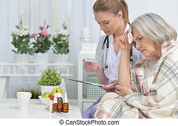 orvos, és, neki, idősebb ember, idősebb ember, türelmes