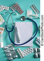orvos, íróasztal, workplace, sztetoszkóp, spirál jegyzetfüzet