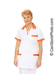 orvos, öregedő, női, mosoly, ápoló, vagy