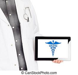 orvos, birtok, tabletta, -, pusztulásnak indult, jelkép