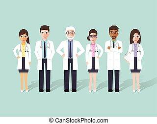 orvos, characters., orvosi, kórház támasz