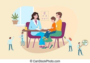 orvos, emberek, vektor, kevés, karikatúra, anya, apró, fogalom, orvosi, medics, illustration., konzultáció, gyerekek, türelmes