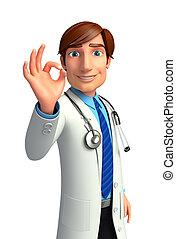 orvos, fiatal, legjobb, aláír