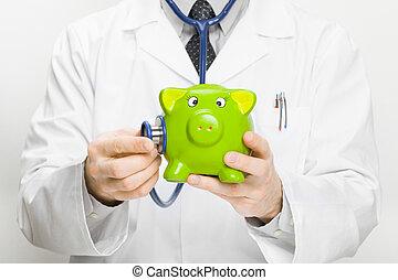 orvos kitart sztetoszkóp, és, piggybank, alatt, kéz