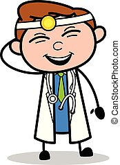 orvos, móka, -, ábra, vektor, nevető, profi, karikatúra