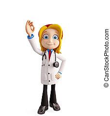 orvos, női, legjobb, aláír
