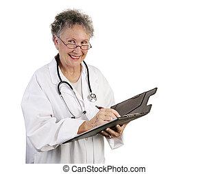 orvos, női, tart, barátságos, hangjegy