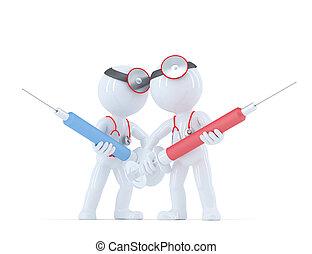 orvos, noha, syringe., orvosi, szolgáltatás, concept.
