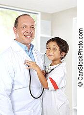 orvos, szórakozik, noha, övé, türelmes