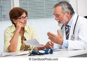 orvos, társalgás, övé, női, türelmes