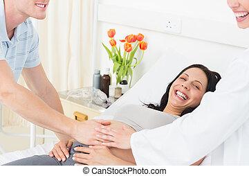 orvos, terhes, bábu woman, boldog