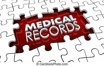 orvosi ábra, darabok, irattár, történelem, kilyukaszt, hézag, rejtvény, 3