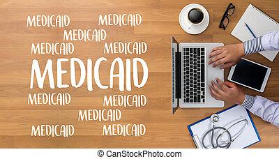 orvosi biztosítás, és, medicaid, és, stethoscope.