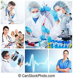 orvosi, collage., laboratory., orvosok